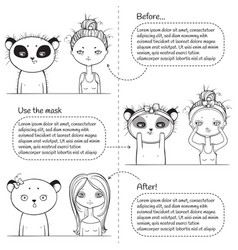 3 steps facial treatment monochrome instruction vector image