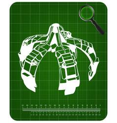 3d model of crane hand on a green vector