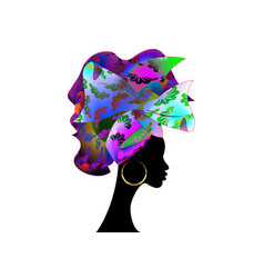 african wedding hairstyle head wrap colorful vector image