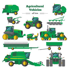Agricultural vehicles flat icons set vector