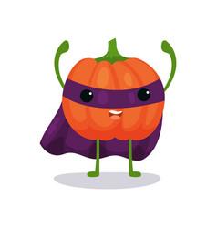 Angry pumpkin cartoon flat character in superhero vector
