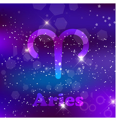 aries zodiac sign on a cosmic purple background vector image