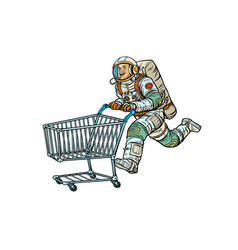 astronaut in the store with a shopping cart vector image