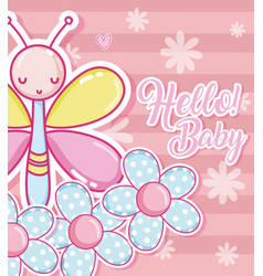 Baby shower cartoons card vector