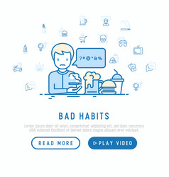 Bad habits concept man swearing and smoking vector
