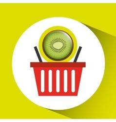 Basket market sweet kiwi icon design vector