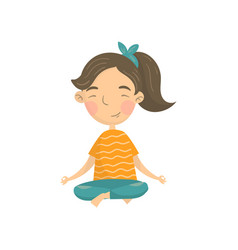 Beautiful girl sitting in lotus position and vector