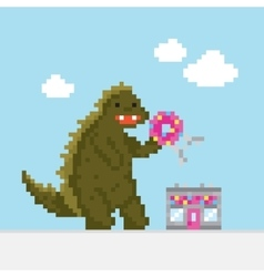 Big cartoon dinosaur attacking donut cafe vector image