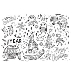 black and white winter print in cartoon style vector image
