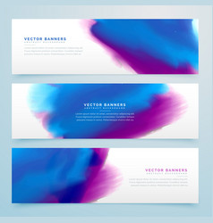 Blue and purple watercolor header banners vector