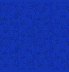 blue floral background with branch and magnolia vector image