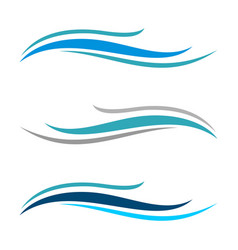 blue wave swoosh logo template design eps vector image
