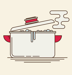 boiling water in pan flat vector image