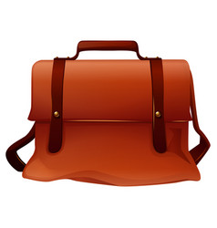 Brown leather bag with two straps vector
