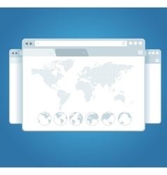Browser Windows and World Map vector image