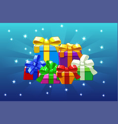 cartoon colored different gifts on blue background vector image