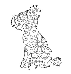 Chinese crested dog coloring antistress vector image