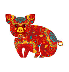 chinese new year pig vector image