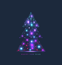christmas and 2020 new year banner with tree vector image