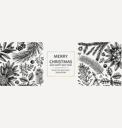 christmas banner design frame with hand sketched vector image