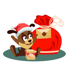 christmas card with a dog holding an envelope from vector image