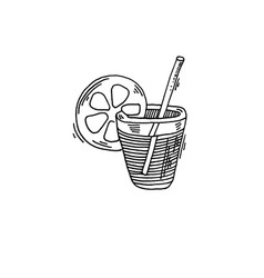 cocktail with lemon slice sketch drawing icon vector image