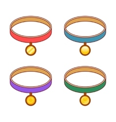 Colorful collars with different round gold tags vector