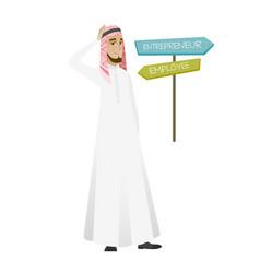 Confused muslim man choosing career pathway vector