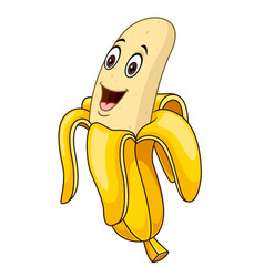 cute banana cartoon mascot logo vector image