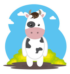 Cute cow in the field landscape character vector