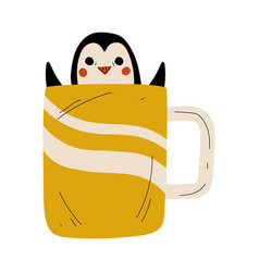 cute penguin in yellow teacup adorable little vector image