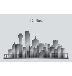 Dallas city skyline silhouette in grayscale vector image