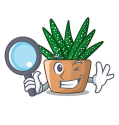 detective character small zebra cactus plant on vector image