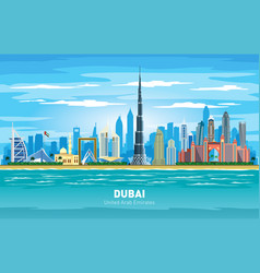 dubai uae city skyline color silhouette vector image