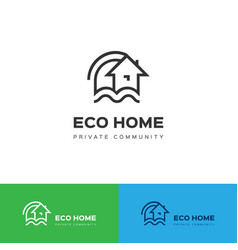 Eco home logo eco house icon concept vector