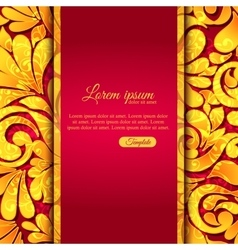 Elegant ornamental card with lace gold pattern and vector image