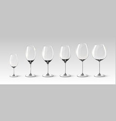 Empty wine glasses collection vector