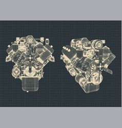 engine blueprints vector image