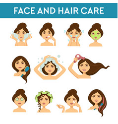 Face and hair care female beauty daily procedures vector
