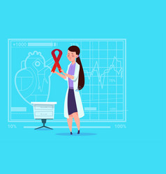 female doctor hold cancer ribbon disease vector image