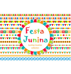 Festa junina patterned set of brushes bunting vector