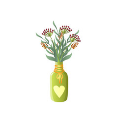 field flowers in light green jug with cute heart vector image