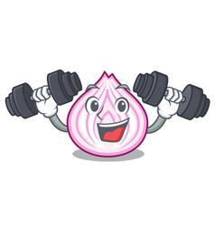 Fitness cut in half slice onion cartoon vector
