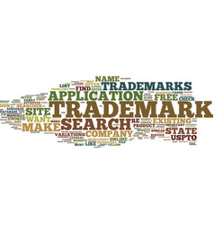 Free trademark search text background word cloud vector