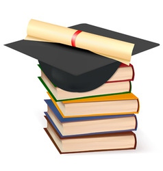Graduation cap and diplom with books vector