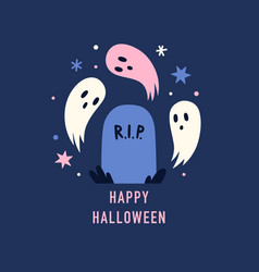 grave and cute spooky ghosts halloween concept vector image