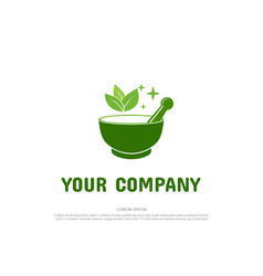 Green mortar and pestle with leaf leaves vector