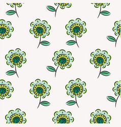 Green sketched flowers seamless pattern texture on vector