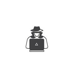 hacker icon computer spy agent design vector image
