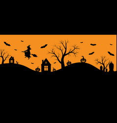 halloween banner with witch vector image